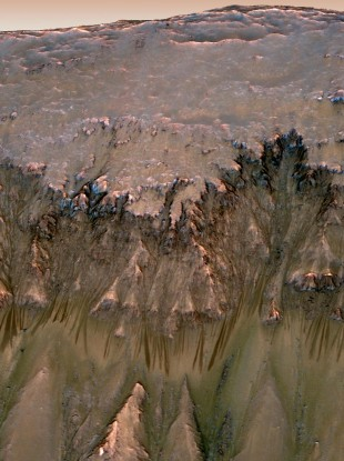 Oblique View of Warm Season Flows in Newton Crater, Mars