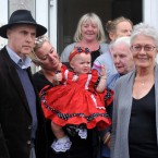 Campaigner Grattan Puxton (left), and actress Vanessa Redgrave (right), meet members of the McCarthy family.