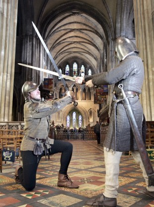 Costumed soldiers at St Patrick's Cathedral reenact the battle between two feuding families, the Butlers and Fitzgeralds, as part of National Heritage Week.