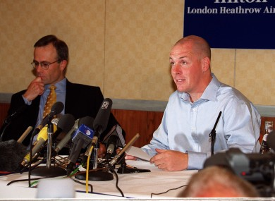 Nick Leeson speaking during a news conference at London's Heathrow airport, the day after was released from a Singapore jail.