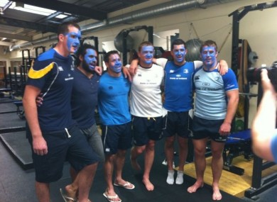 Some of the Leinster rugby team are 'blued up' to support the campaign