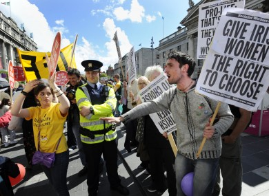 File photo: Pro-choice supporters confront anti-abortion supporters at a rally supporting Irish anti-abortion policy in Dublin
