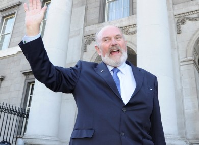 David Norris submits his nomination papers yesterday.