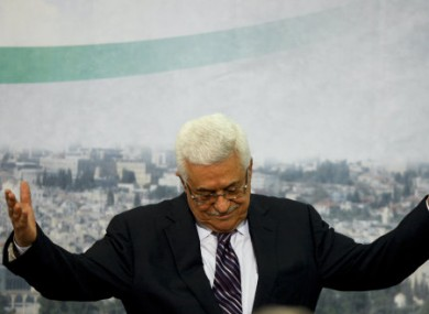 President Abbas delivering his speech today.
