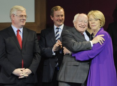 President elect Michael D Higgins on stage with his wife Sabina, Tanaiste, Eamon Gilmore and Taoiseach Enda Kenny.