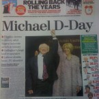 The front page of today's Irish Independent features a photo of a smiling Michael D and wife Sabina at Dublin Castle last night, celebrating his presidential victory.