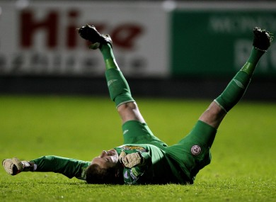 Shelbourne goalkeeper Dean Delaney celebrates last night's FAI Cup semi-final win over St Patrick's Athletic.