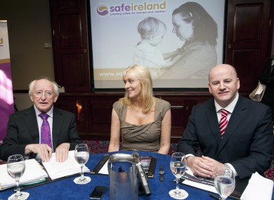 Michael D Higgins and Seán Gallagher pause before being quizzed by Miriam O'Callaghan at Wednesday's Safe Ireland debate.