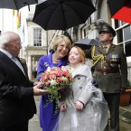President Michael D Higgins and his wife Sabina are greeted by Chloe Higgins, 12, from Ballyfermot at Dublin Castle. Image: Sasko Lazarov/Photocall Ireland