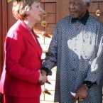Former South African president Nelson Mandela meets with McAleese in Maputo, Mozambique on 14 June 2006.   (AP Photo/Ferhat Momade)