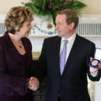 Taoiseach and Fine Gael leader Enda Kenny collects his seal of office from President McAleese on the first day of the 31st Dail in March 2011.  (Niall Carson/PA Archive/Press Association Images)