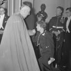 Mrs Sineád de Valera greets Irish-born Papal Nuncio at the State reception held that night in St Patrick's Hall, Dublin Castle.
