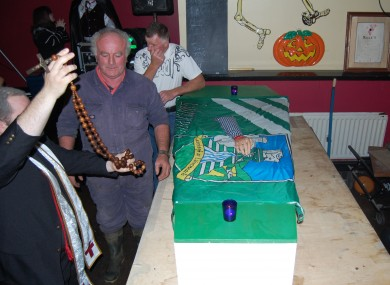 The 'coffin' was custom-made for the occasion by local men.