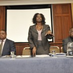 Eric Yao, CEO, Africa Centre, Salome Mbugua, CEO, Akidwa and Clement Esebamen, IWABEC, calling on the Government to speak out to end racism in Ireland (Sasko Lazarov/Photocall Ireland)