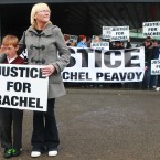 Family of Rachel Peavoy protest outside Dublin City Council offices in Ballymun last June after her inquest hears that she died from hypothermia at home. (Pic: Leon Farrell/Photocall Ireland)