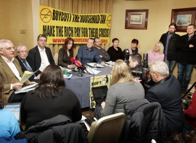 TDs under the Campaign Against Household and Water Taxes banner at a press conference in Dublin today.