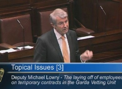 Michael Lowry raising the issue in the Dáil