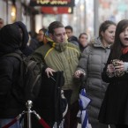 A queue of about 250 people queued this morning outside Arnotts department store on Henry Street in Dublin, including a tired Saoirse McElvaney from Blanchardstown (right) who was first in line, and queued from 5pm on Christmas Day.   Handbags were the main attraction this morning with up to 70 per cent off.   Photo: Laura Hutton/Photocall Ireland