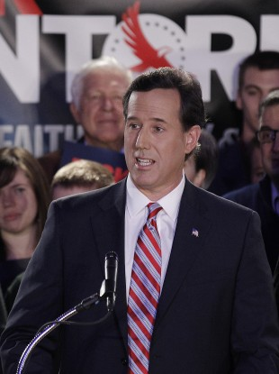 Santorum addresses supporters at his Iowa caucus victory party.