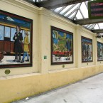 The panels at Bray Dart station that are to replaced under the mural to mosaic project. (Via mural-to-mosaic.blogspot.com)