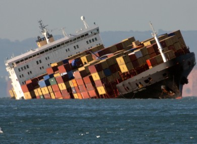 The MSC Napoli after running aground a mile off the coast of England in January 2007.