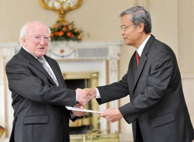 President MDH with Khouanta Phavilong, the new Ambassador of Lao