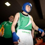 Katie Taylor enters the ring for her bout with the Netherlands' Jessica Balder.<span class=