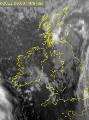 The latest infra red satellite image from Met Éireann this morning
