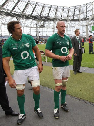 Mike McCarthy and Paul O'Connell at the end of last season's summer Test against England.