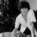 Beatle George Harrison in Nassau in the Bahamas in 1964 - the dog isn't his though; the dachshund named Bendix lived at Harrison's host home in the Bahamas. (AP Photo/Press Association Images)