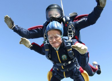 Feeling the fear and doing it anyway... This was George Moyse, aged 97, from Bournemouth in the UK, doing a tandem parachute jump for charity in 2009.