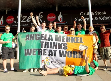 The Irish fans with the flag in Poznan.