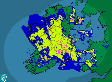 Ireland's in there somewhere... Met Éireann's rainfall radar as of 7:15am this morning.