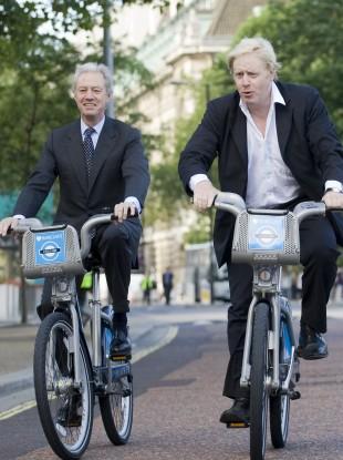 On his bike: Barclay's chairman Marcus Agius at a photocall with London Mayor Boris Johnson last year.