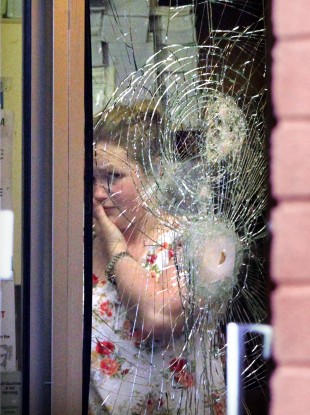 The window of the post office in Walkinstown that was subjected to an armed raid yesterday.