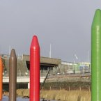 Keith Wilson's crayon-like structures in the Olympic Park as part of the Art on the Park programme. (Via London2012.com)