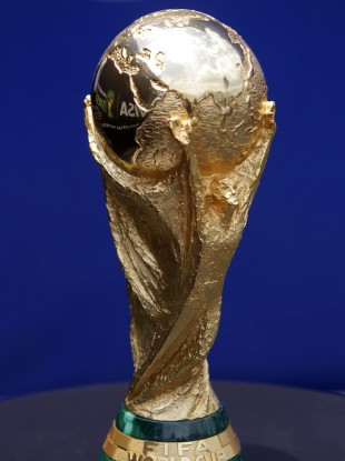 The Jules Rimet Trophy presented to winners of the FIFA World Cup.