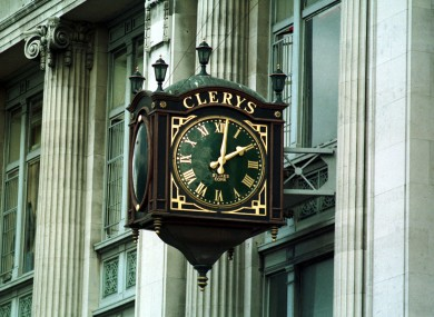 File photo of the clock outside Clerys on O'Connell Street in Dublin city centre.