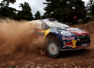 World Champion Sebastien Loeb and his co-driver Daniel Elena with their WRC Citroen DS3.