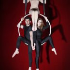Three's a family in Ether Productions' aerial circus ABSOLUT Fringe show Mirror, Mirror in Filmbase, Temple Bar this September. From the top, clockwise: Aisling Ní Cheallaigh, Niamh Creely and Jonathan Walsh. Image: Aaron Fowler.