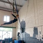Niamh does her best ship figurehead impersonation in our regular training space. Finding a suitable place to train for aerial is never easy, especially in Dublin. Ether currently does the bulk of their training in Carrick-On-Shannon. Image: Ether crew/Jonathan Walsh.