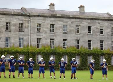 Kent High School American football team during training at Trinity College Dublin