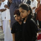 Young Sri Lankan Muslim children look on during a prayer session in Colombo, Sri Lanka. (AP Photo/Eranga Jayawardena/PA)