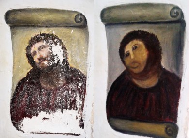 The 'renovation' (right) of the Ecce Homo fresco in Spain was presumably one of those awkward moments...