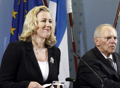German Finance Minister Wolfgang Schaeuble, center, the Finance Minister of the Netherlands, Jan Kees de Jager, right, and the Finance Minister of Finland, Jutta Urpilainen.