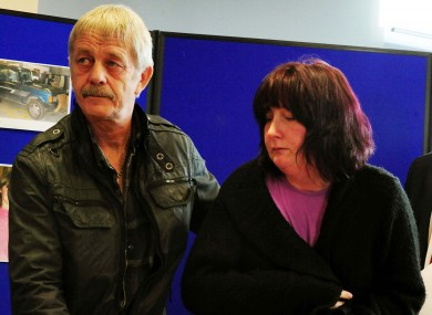 April Jones's mother Coral with April's step-grandfather Dai Smith at the press conference this morning.