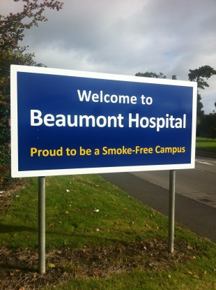 Beaumont Hospital's entrance sign.