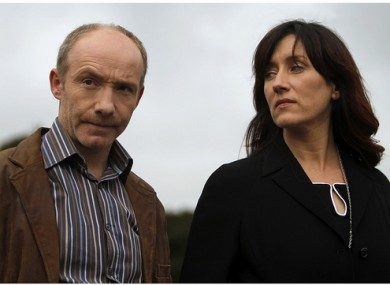 Diarmuid de Faoite and Maria Doyle Kennedy from TG4's Corp + Anam