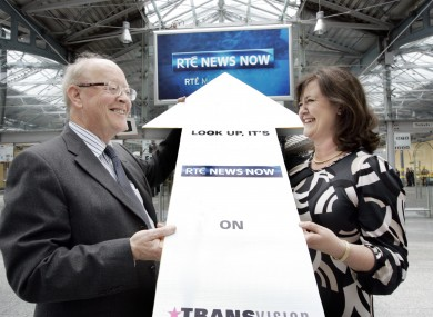 RTÉ's head of Digital, Muirne Laffan, launching an RTÉ News Now screen in Heuston Station in 2010 with CIE's John Lynch.