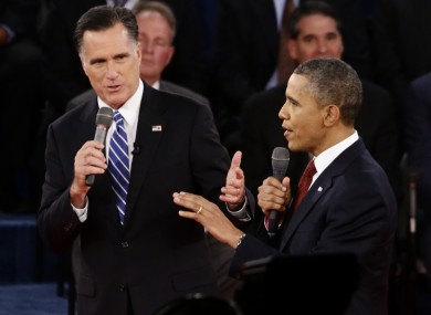 President Barack Obama and Republican presidential candidate and former Massachusetts Gov. Mitt Romney participate in the second presidential debate